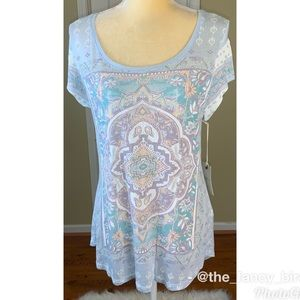 Lucky Brand Boho Light Weight Short Sleeve Tee